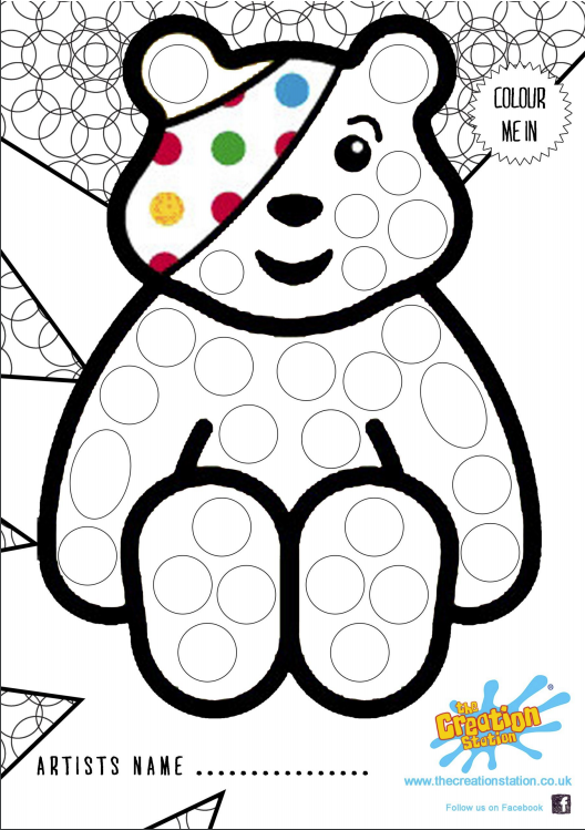 Pudsey Children In Need Colouring In Sheet | The Creation Station