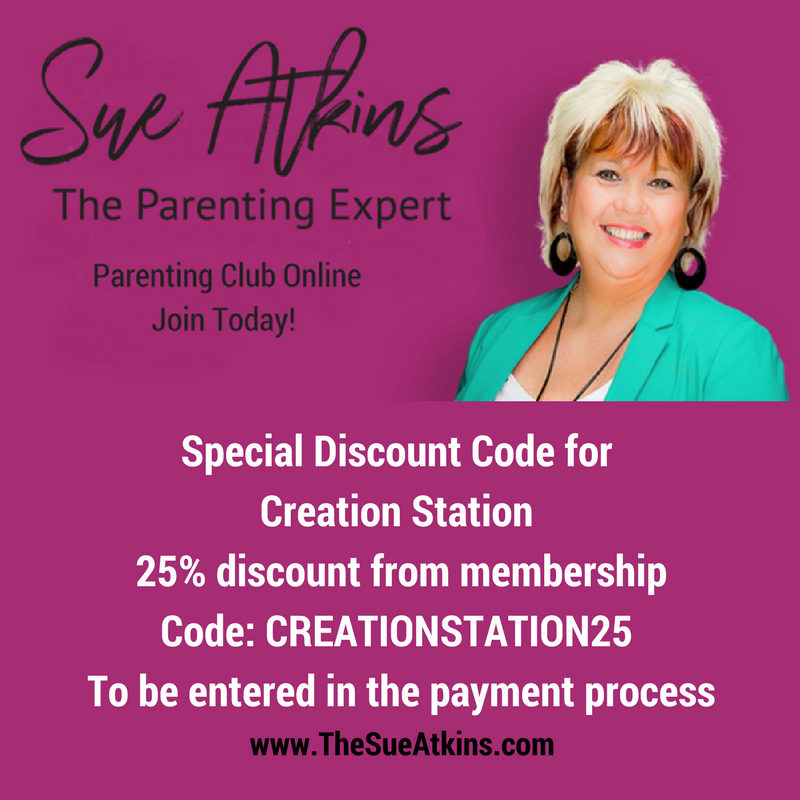 Creation Station Discount Code for Sue Atkins Parenting Journal