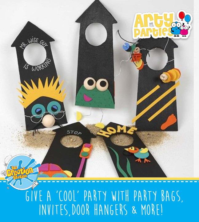 Kids party entertainment with door hangers