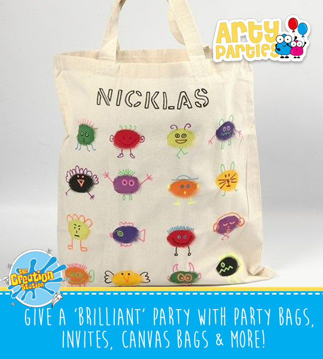 Kids party entertainment with canvas bags