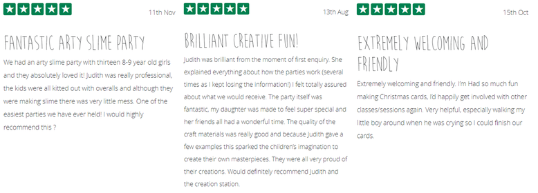 5* Reviews for Judith Coles of The Creation Station Charnwood Leicestershire