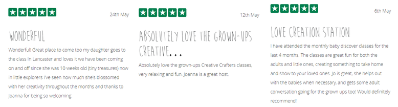 5* Reviews for Jo Cameron of The Creation Station Lancaster