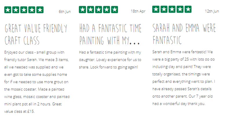 5* Reviews for Sarah Dunn of The Creation Station Barnsley West