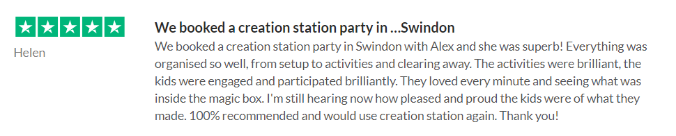 5* Reviews for Hayley of The Creation Station Swindon South