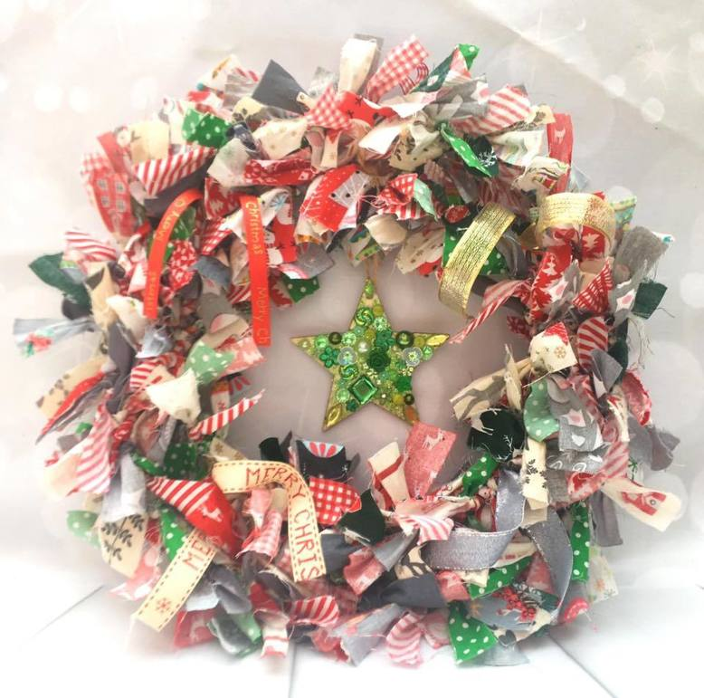 Stunning handmade Christmas wreaths made From Cut Up Fabric