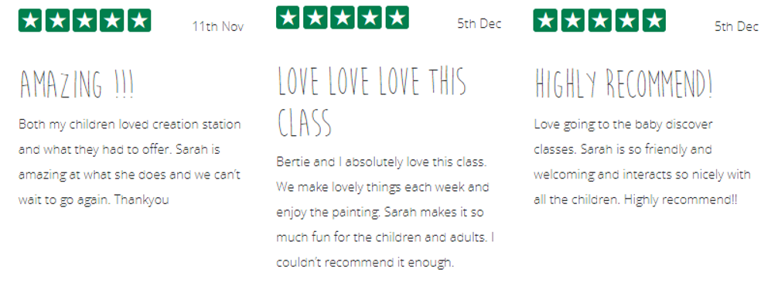 5* Reviews for Sarah Pearce of The Creation Station Cwmbran