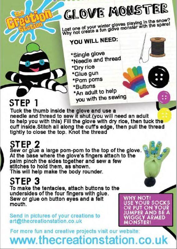 Creation Station Glove Monster Activity Sheet