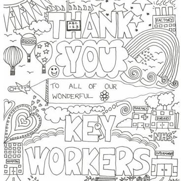 Thank You Key Workers - free colour in activity download to show our massive appreciation