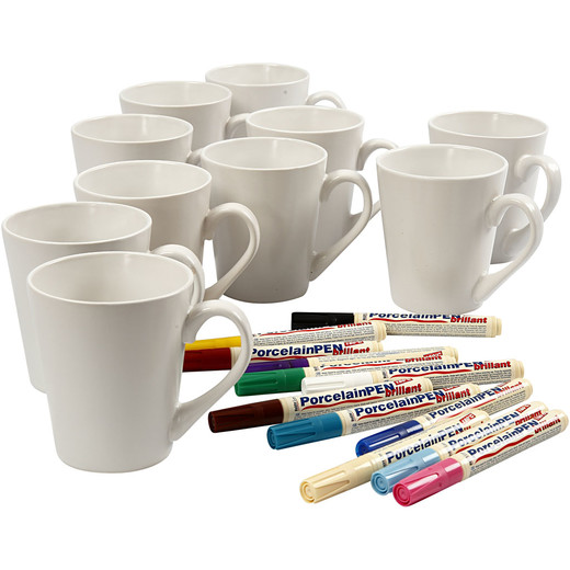 Mugs and porcelain markers