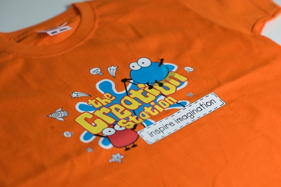 Creation Station T-shirt ages 7 - 8 years orange