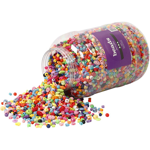 Bucket of Plastic Beads