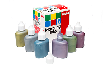 Marbling inks metallic l r white