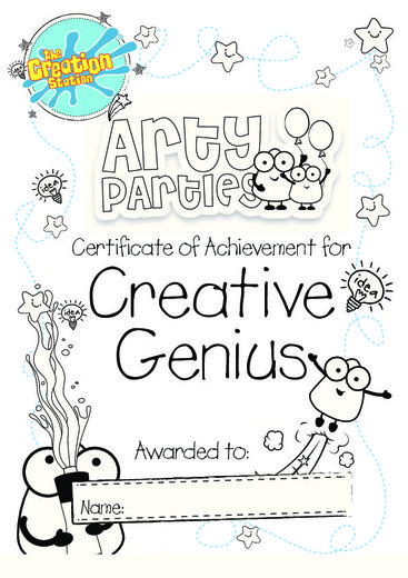 Arty Parties Certificate   Creative Genuis   colour logo+border 5th July 2017