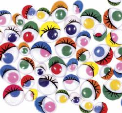 Large bag of 500 Assorted Colour Wiggly Eyes with Lashes